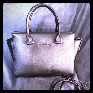 Vince Camuto satchel in textured pewter. Used once